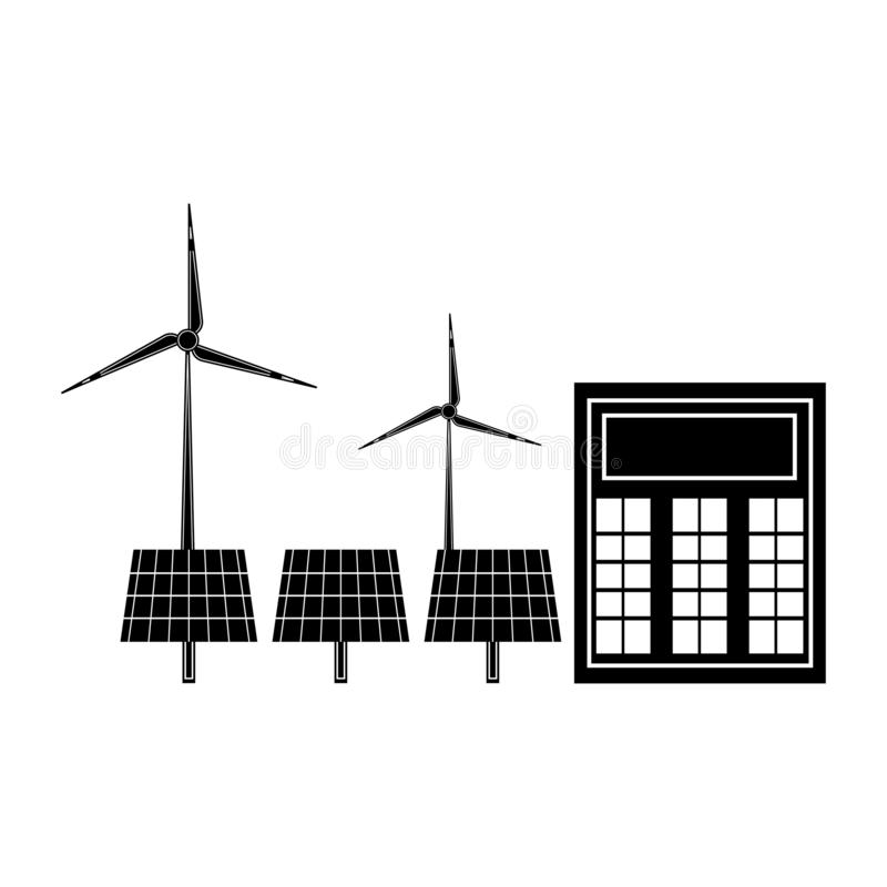 Solar power plant icon stock vector. Illustration of plant