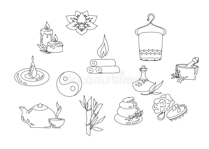 Massage, Wellness And Spa Icons Stock Vector