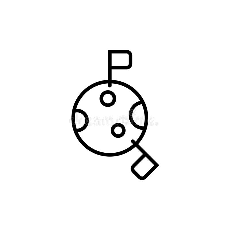 Space Colonies Flag On The Moon Icon. Simple Line, Outline