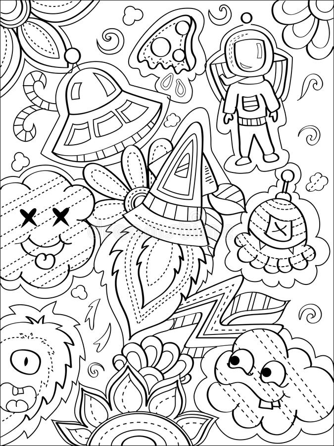 Space Doodle Coloring Page Stock Vector Illustration Of Space 113409264
