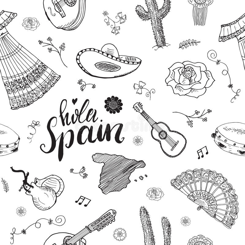 Spain Seamless Pattern Doodle Elements, Hand Drawn Sketch