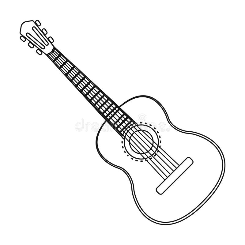 Spanish Acoustic Guitar Icon In Outline Style Isolated On