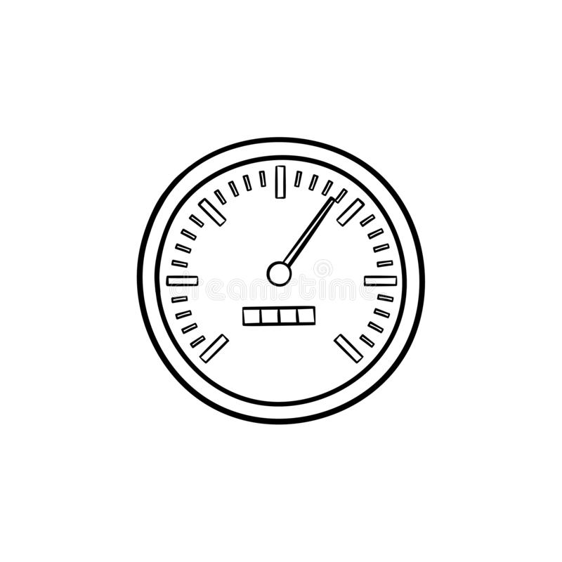 Speedometer Hand Drawn Outline Doodle Icon. Stock Vector