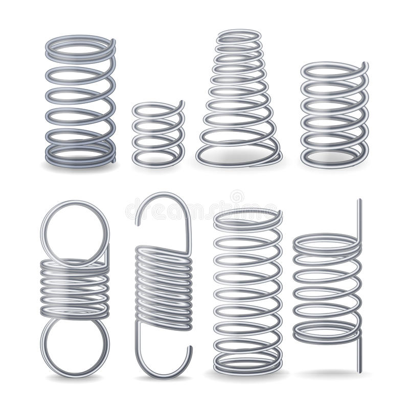 Spiral Flexible Wire. Springs Of Compression, Tension And