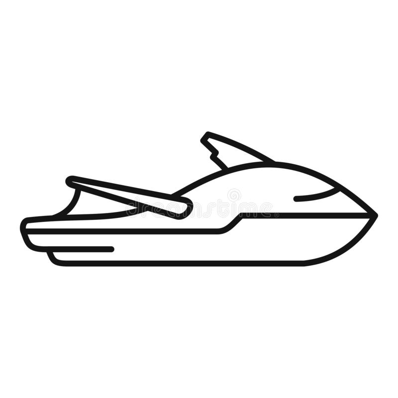 Sport Jet Ski Icon, Outline Style Stock Vector
