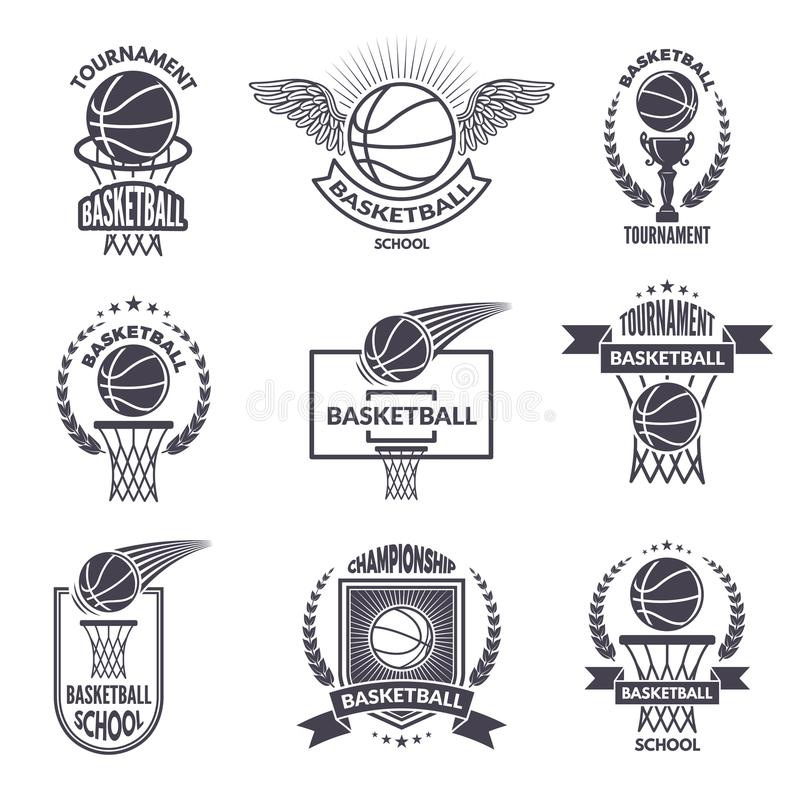 Basketball Badges Logos And Labels For Any Use Stock