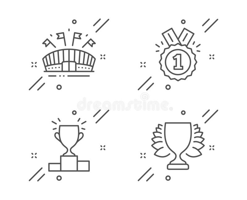 Podium For Sports Awards At The Stadium Stock Vector