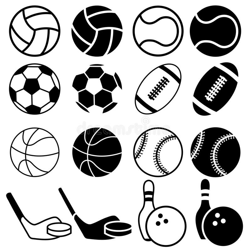 Sports Balls icons. stock illustration. Image of black