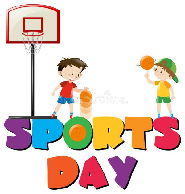 Sports Day Poster With Boys Playing Basketball Stock