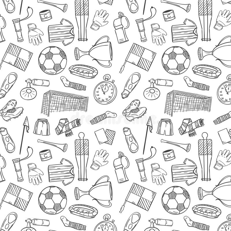 Sports Pattern With Soccer/Football Symbols In Hand Draw