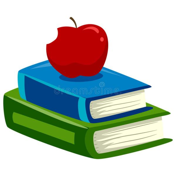 Stack Of Books With Apple Top Stock Vector