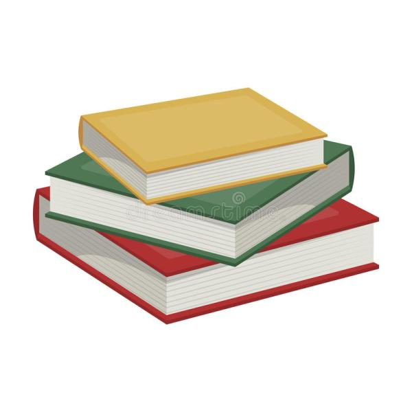 Stack Of Books Icon In Cartoon Style Isolated White