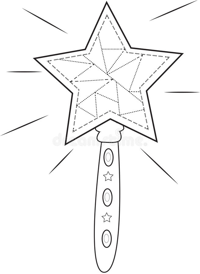 Star Wand Coloring Page Stock Illustration Illustration