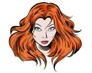 staring redhead cartoon girl illustration