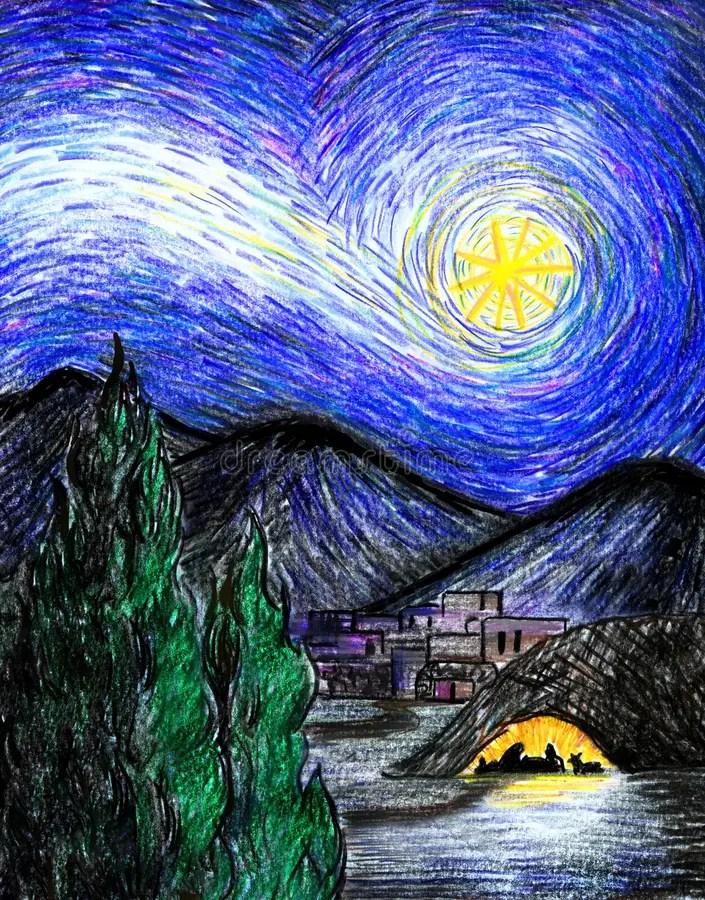 Starry Bethlehem Night Stock Illustration Image Of