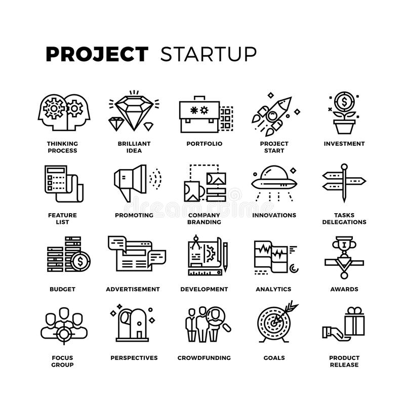 Set Of Thin Line Web Icons Of Graphic Design And Project