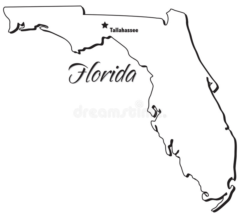 State of Florida Outline stock vector. Illustration of