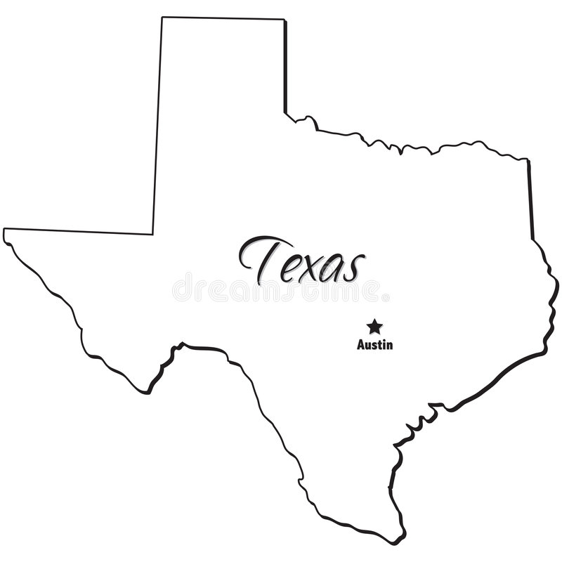 State of Texas Outline stock vector. Illustration of