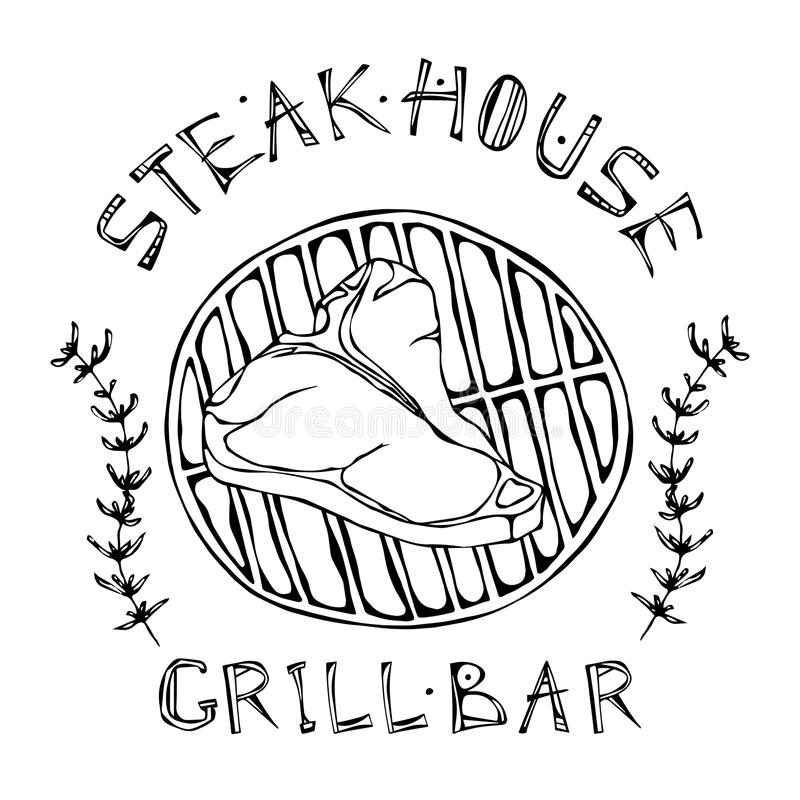 T-Bone Steak On The Grill For Barbecue, Tongs And Fork