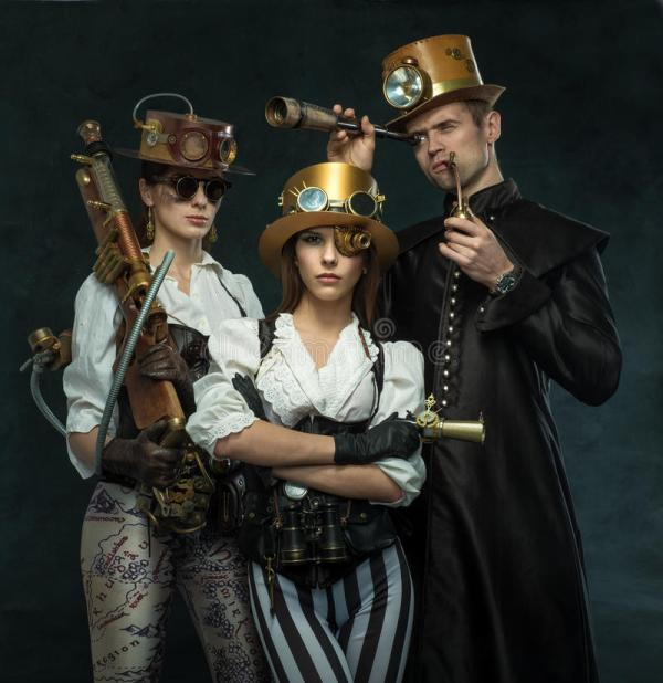 Steam Punk Style. People Of Victorian Era In