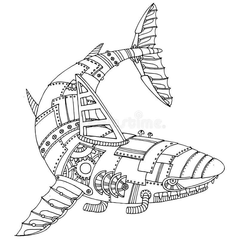 Steam Punk Style Shark Coloring Book Vector Stock Vector