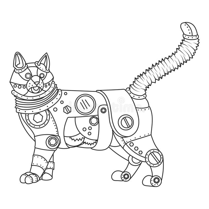 Steampunk Style Cat Coloring Book Vector Stock Vector