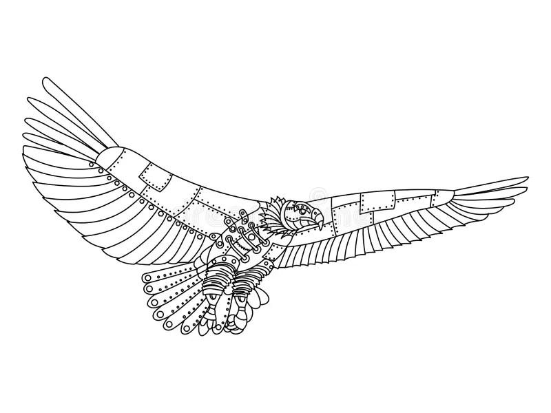 Steampunk Style Eagle Coloring Book Vector Stock Vector