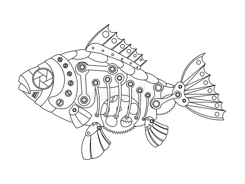 Steampunk Style Fish Coloring Book Vector Stock Vector