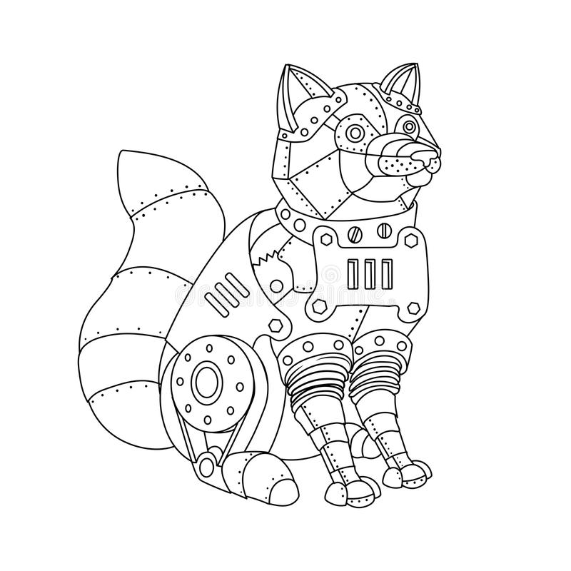 Steampunk Style Fox Coloring Book Vector Stock Vector