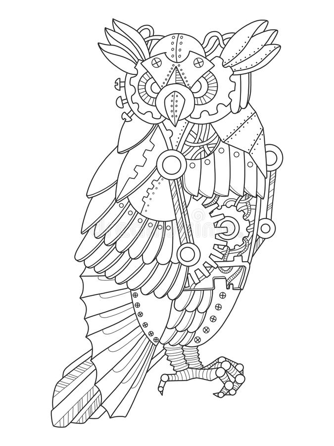 Steampunk Style Owl Coloring Book Vector Stock Vector
