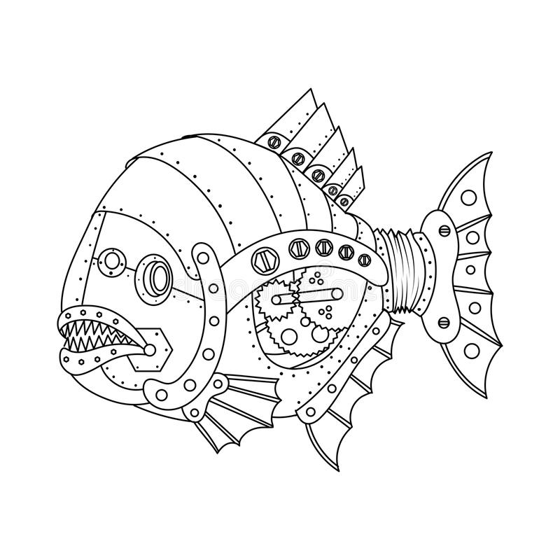 Steampunk Style Piranha Fish Coloring Book Vector Stock