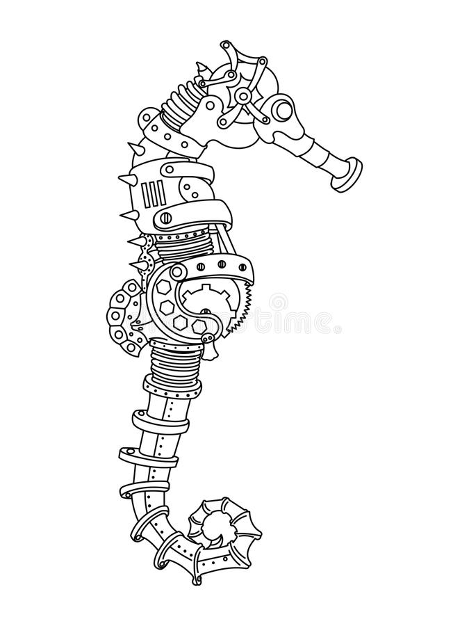 Steampunk Style Sea Horse Coloring Book Vector Stock