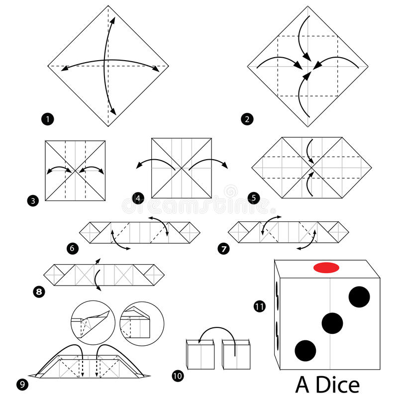 Step By Step Instructions How To Make Origami A Dice Stock