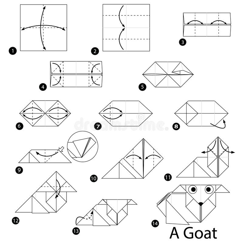 Step By Step Instructions How To Make Origami A Goat Stock