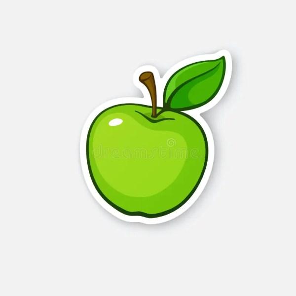 Sticker Green Apple With Stem Stock Vector - Illustration