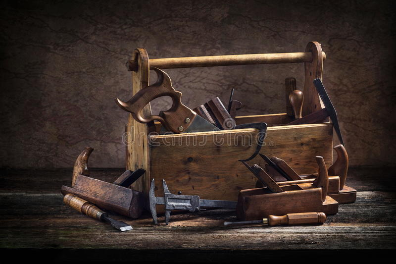 Still Life Old Wooden Tool Box Stock Image Image Of