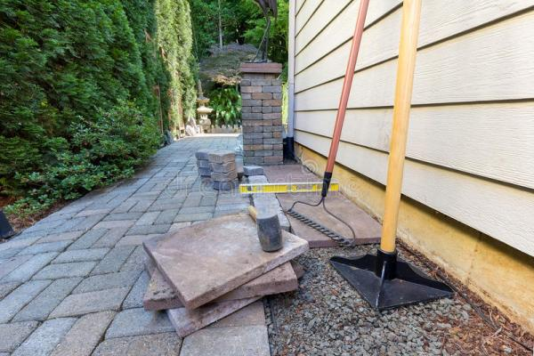 stone pavers and tools side