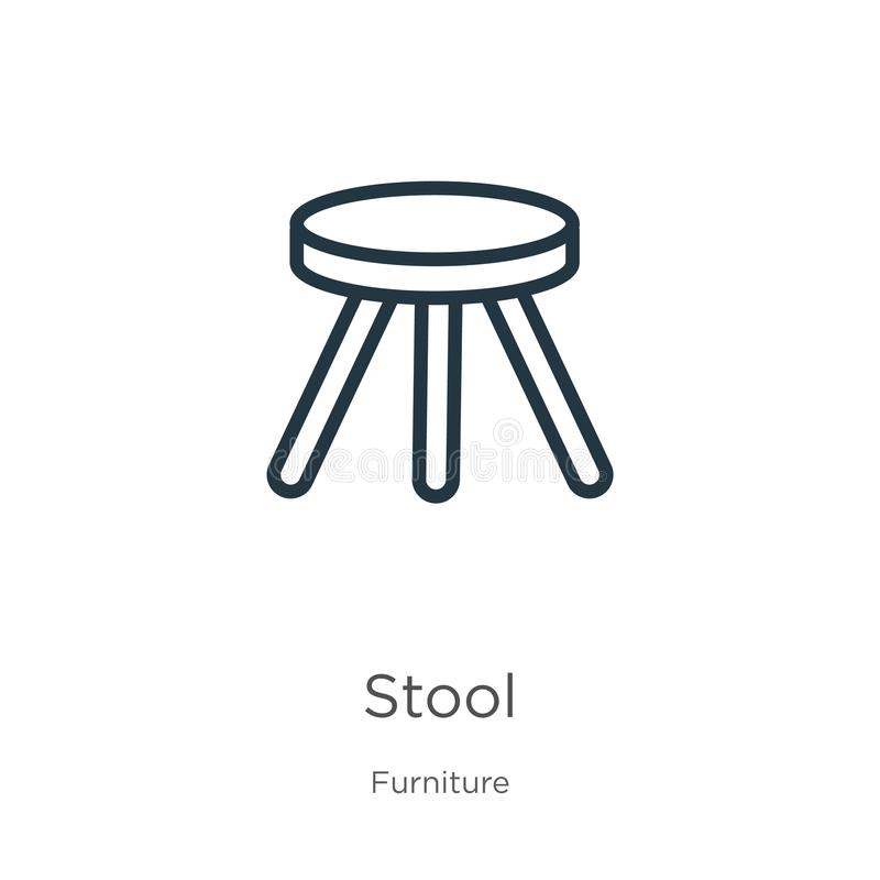 Tall Wood Icon, Outline Style Stock Illustration