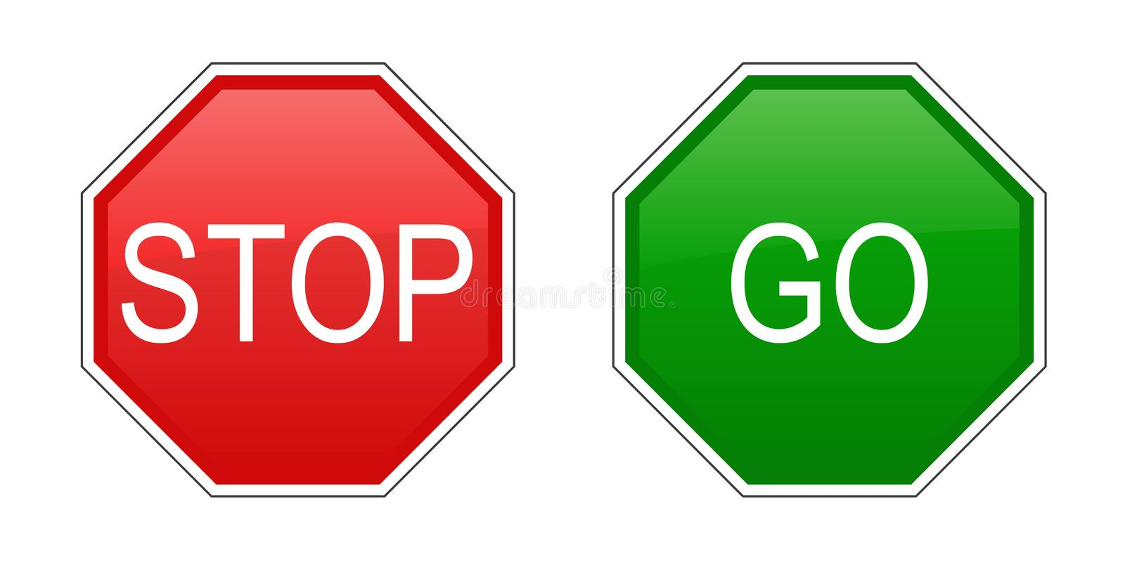 Stop And Go Signs Stock Vector Illustration Of Drive