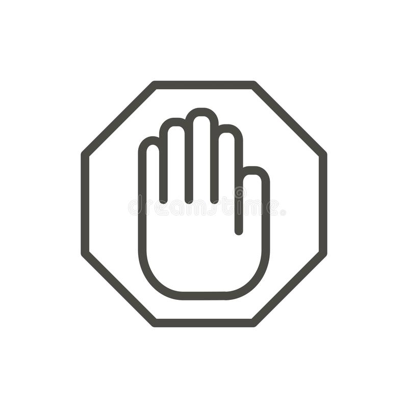 Stop sign in hand stock illustration. Illustration of