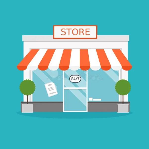 Store Facade. Vector Illustration Of Building. Stock
