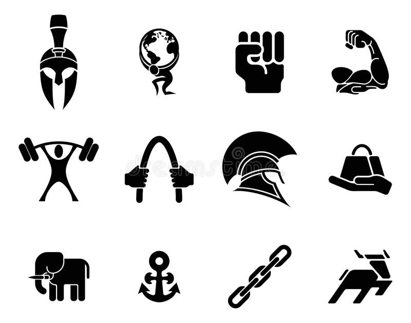 Strength icons stock vector. Illustration of chain