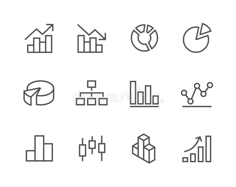 Stroked Graph And Diagram Icon Set. Stock Vector