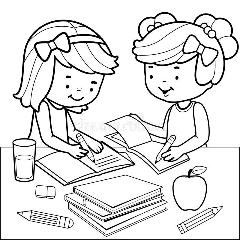 Students Doing Homework. Black And White Coloring Book