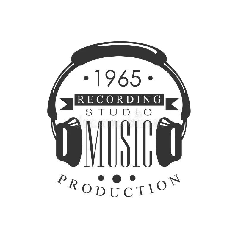 Studio Record Logo Template With Sound Recording Noir Et