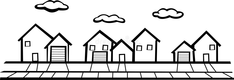Suburbs stock vector. Illustration of weal, landmarks