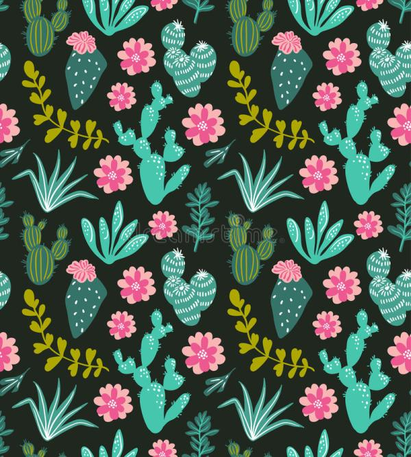 Succulents Cacti Plant Vector Seamless Pattern. Botanical