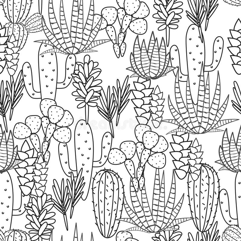 Succulents Plant Vector Seamless Pattern Stock Vector