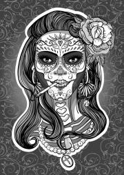 sugar skull woman stock vector