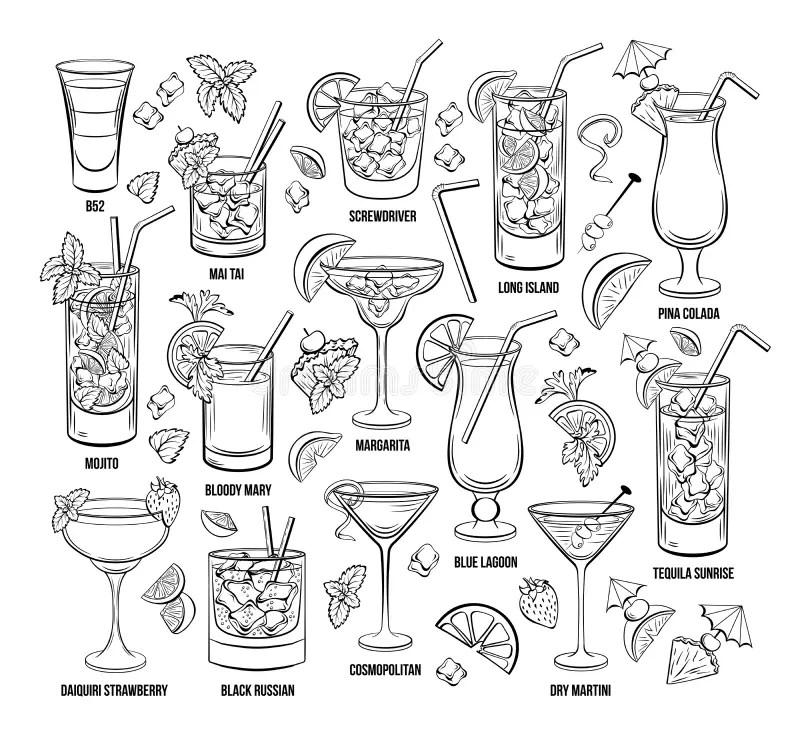 Cosmopolitan Alcoholic Cocktail Vector Illustration Recipe